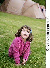 peu, camping, nature, vacances, girl, tente