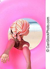 peu, caoutchouc, tenue, girl, plage, anneau