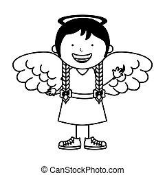 peu, caractère, girl, ange