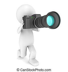 peu, caractère, humain, appareil-photo., 3d