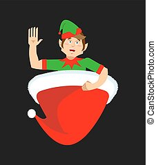 peu, casquette, assistant., elf., claus, santa chapeau, noël, rouges