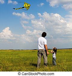 peu, cerf volant, elle, voler, père, girl
