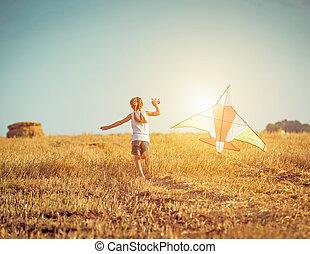 peu, cerf volant, girl, heureux