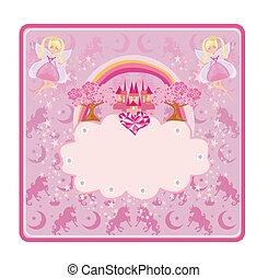 peu, château, beau, rose, fées, conte fées, cadre