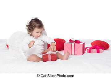 peu, chérubin, reposer lit, à, cases don, isolé, blanc