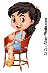 peu, chaise, girl, séance