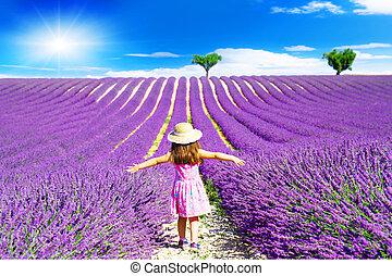 peu, champs, promenades, lavande, entre, girl, provence