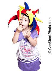 peu, chapeau, girl, clown
