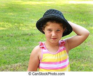 peu, chapeau, girl, elle, main