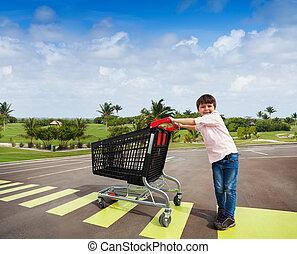 peu, chariot, acheteur, croisement, route
