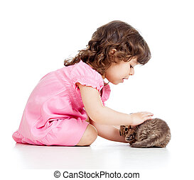 peu, chat, chaton, girl, jouer, gosse