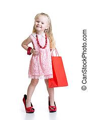 peu, chaussures, elle, accessoires, maman, girl, essayer, rouges