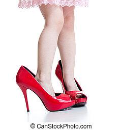 peu, chaussures, elle, mère, isolé, girl, essayer