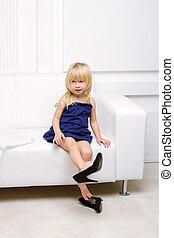peu, chaussures, séance, sofa, hauts talons, girl