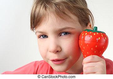 peu, chemise, minuteur, main, regarder, fraise, appareil photo, tenue, girl, plastique, rouges, cuisine