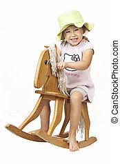 peu, cheval bascule, girl