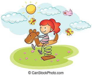 peu, cheval bascule, girl, jouer