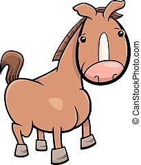 peu, cheval, ou, poulain, dessin animé