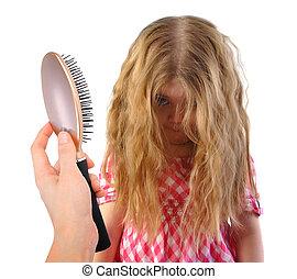 peu, cheveux, enchevêtré, désordre, blanc, girl