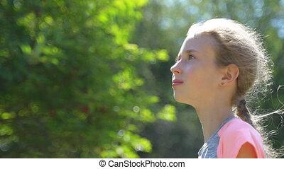 peu, cheveux, wind., girl, portrait, couler