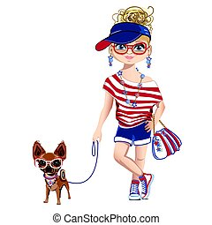 peu, chien, girl, mode