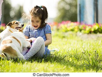 peu, chiens, girl, jouer