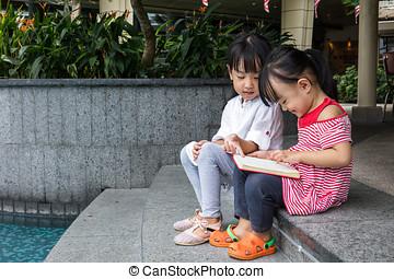 peu, chinois, filles, livre, asiatique, lecture