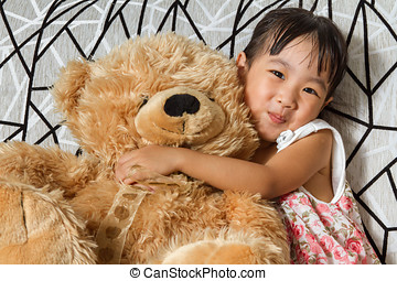peu, chinois, ours peluche, fille asiatique