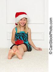 peu, claus, chapeau, girl, santa