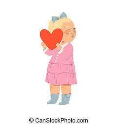 peu, coeur, cheveux, illustration, vecteur, blond, tenue, ...