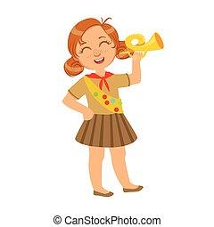 peu, coloré, habillé, caractère, uniforme, scout, trompette, tenue, girl