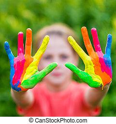peu, coloré, peint, peintures, caractères, main, mains, prêt, girl