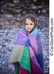peu, coloré, warmplaid, portrait, outdoors., girl