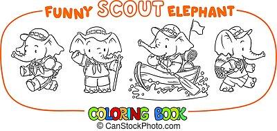 peu, coloration, ensemble, scout., livre, bébé, elephant.