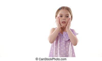 peu, concept., blanc, isolé, arrière-plan., vidéo, portrait, girl, enfance, surpris