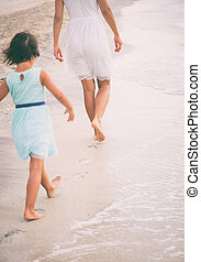 peu, concept, elle, essayer, promenade, mother., education, pas, girl