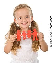 peu, concept, famille, gens, -, papier, tenue, girl