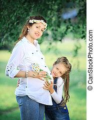 peu, concept, fille, elle, pregnant, -, mère, education