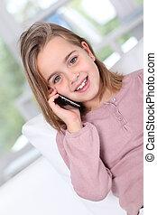 peu, conversation, téléphone portable, portrait, girl