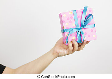 peu, coup, tenue, cadeau, gift., haut, foyer, champ, profondeur, man.shallow, box.selective, mains, petit, fin, mâle