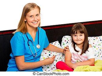peu, courageux, patient, réception, vaccin