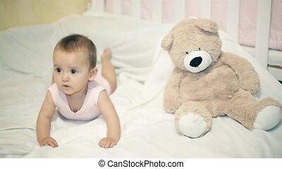 peu, couverture, ours, suivant, girl, blanc, mensonge