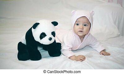 peu, couverture, panda, bébé, blanc, jouer
