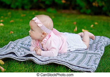 peu, couverture, parc, girl, mensonge, heureux