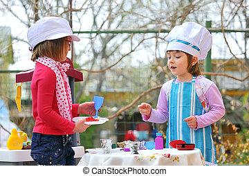 peu, cuisine, filles, amusant, jouer