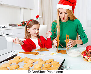 peu, cuisson, elle, biscuits, mère, girl, noël