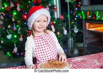 peu, cuisson, portrait, pain épice, girl, heureux, cuisine