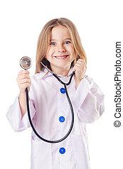 peu, déguisement, girl, docteur