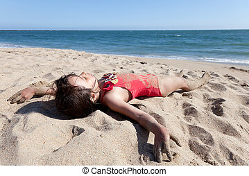 peu, délassant, sable, couvert, girl, plage