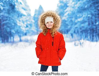 peu, dehors, hiver, jour, enfant